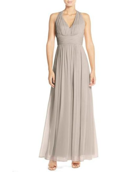 Dessy Collection | Brown Ruched Chiffon V-neck Halter Gown | Lyst
