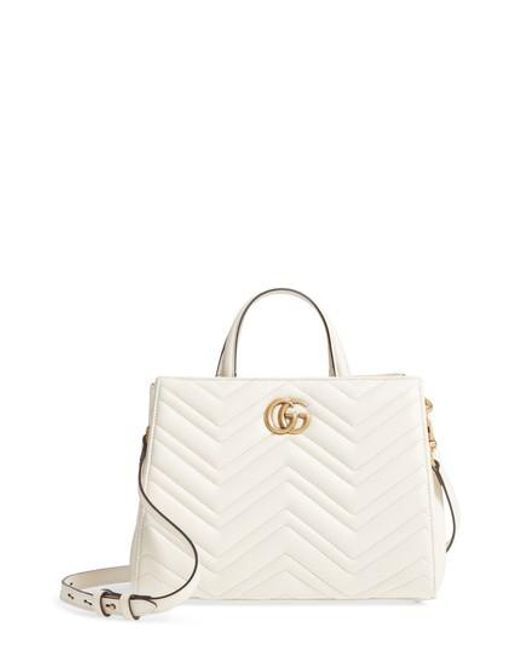 Gucci - White Gg Small Marmont 2.0 Matelasse Leather Top Handle Satchel - Lyst