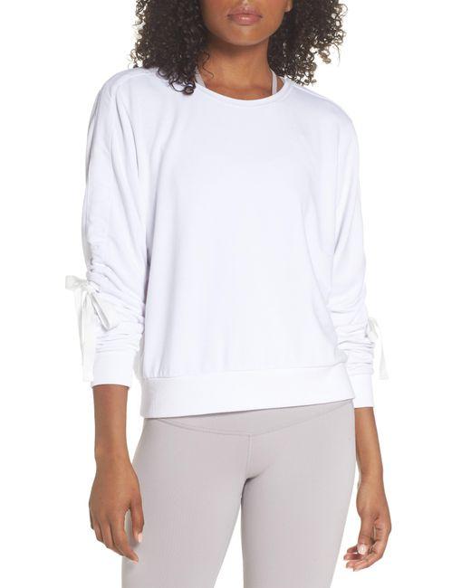 Zella - White Gather Sleeve Sweatshirt - Lyst