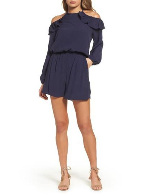 49f75d11a4e6 Lyst - Fraiche By J Cold Shoulder Romper in Blue