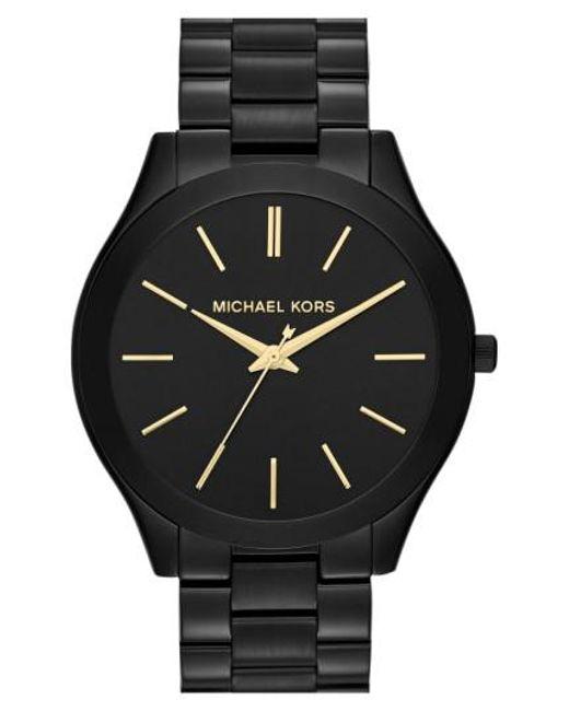Michael Kors | Metallic Michael Kors 'slim Runway' Bracelet Watch | Lyst