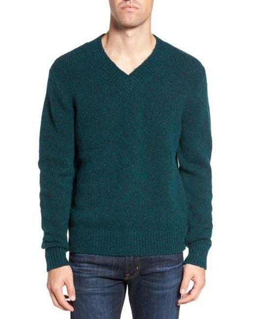 Bonobos Fuzzy Deep V-neck Wool Blend Sweater in Green for Men | Lyst