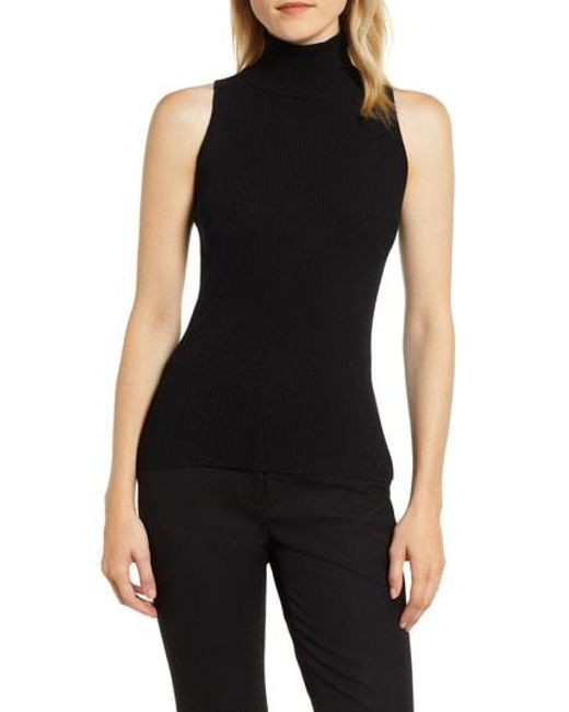 aa4afdd7d2fb5 Lyst - Anne Klein Ribbed Turtleneck Shell in Black