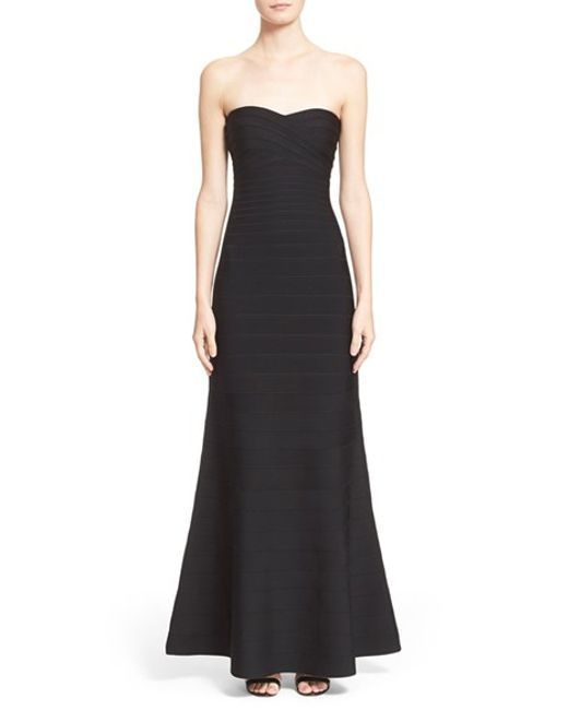 Hervé Léger | Black Bandage Mermaid Gown | Lyst