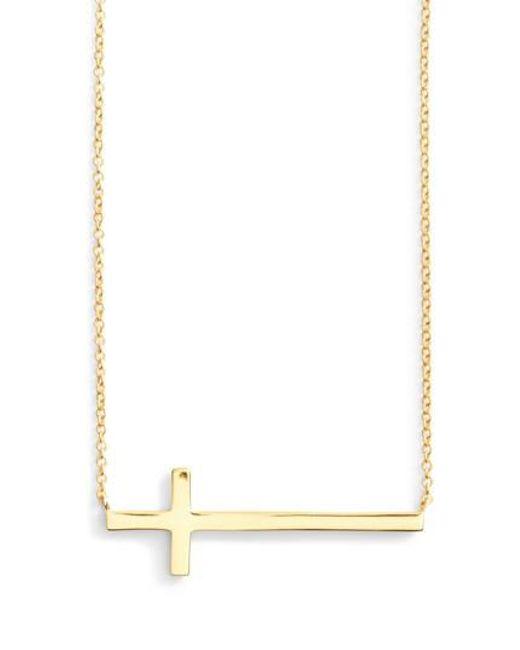 Argento Vivo - Metallic Modern Sideways Cross Pendant Necklace - Lyst