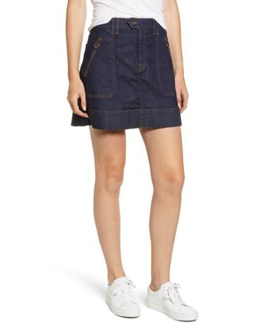 7 For All Mankind - Blue 7 For All Mankind Utility Miniskirt - Lyst