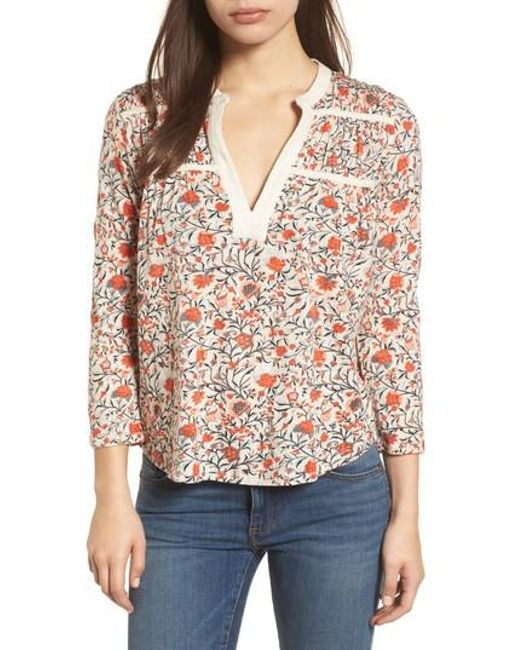 8113743d88c6ec Lucky brand Smocked Floral Print Blouse