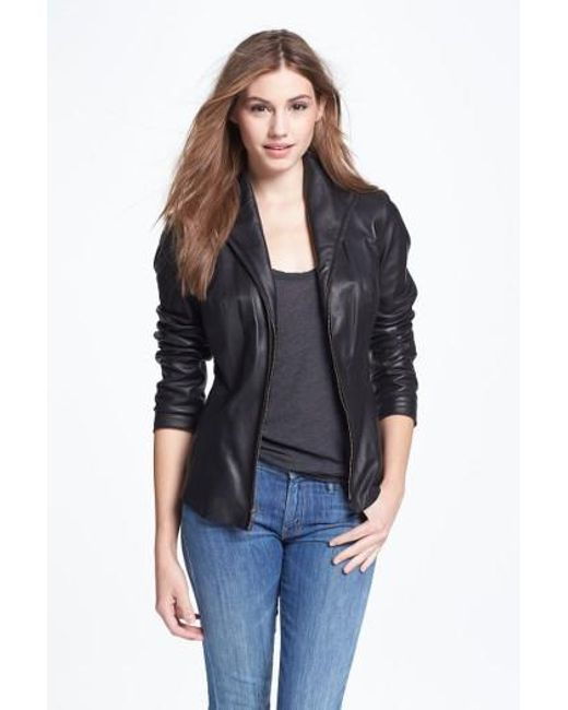 Cole Haan | Black Lambskin Leather Scuba Jacket | Lyst