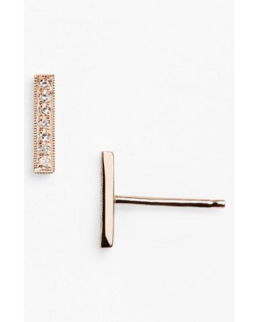Dana Rebecca | Metallic 'sylvie Rose' Diamond Bar Stud Earrings | Lyst