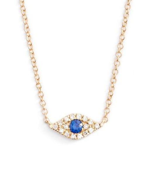 EF Collection | Metallic Evil Eye Diamond & Sapphire Pendant Necklace | Lyst
