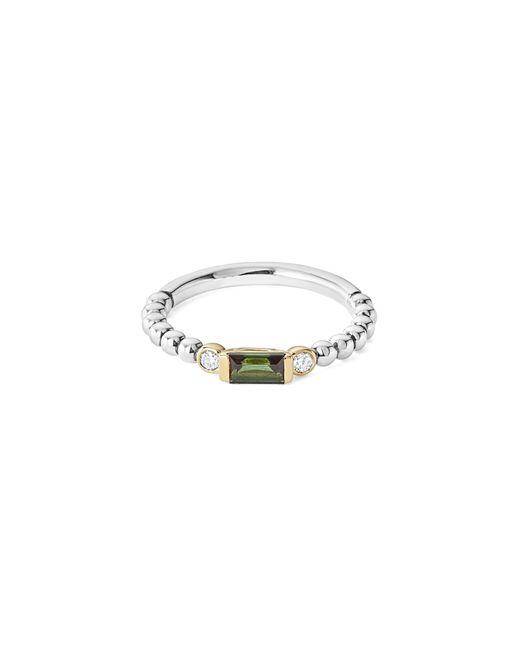 Lagos - Metallic Gemstone Baguette And Diamond Beaded Band Ring - Lyst