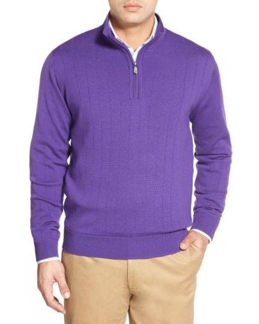 Bobby Jones | Purple Windproof Merino Wool Quarter Zip Sweater for Men | Lyst