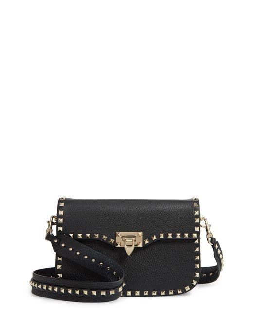 Valentino - Black Rockstud Leather Shoulder Bag - Lyst