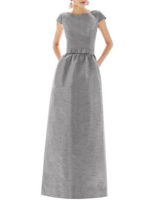 Alfred Sung | Gray Cap-Sleeve Dupioni Full-Length Dress | Lyst