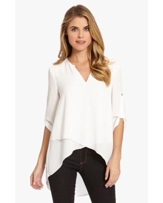 Karen Kane - White Asymmetrical Wrap Hem Top - Lyst