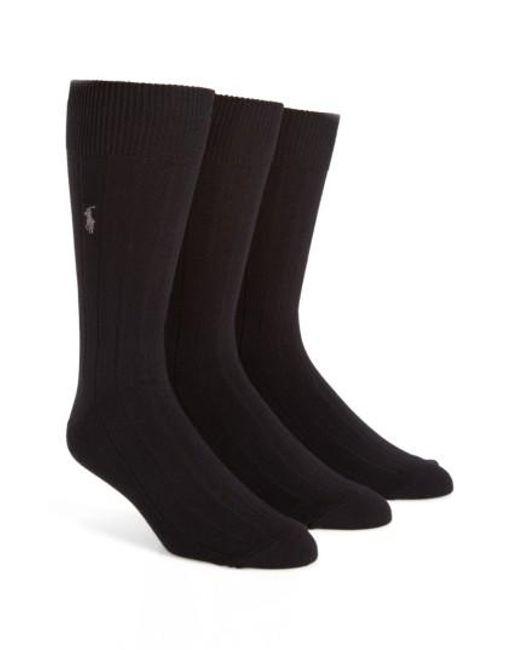 Polo Ralph Lauren   3-pack Crew Socks, Black for Men   Lyst