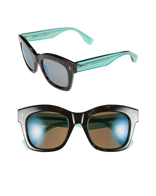 Fendi | Gray 50mm Retro Sunglasses | Lyst