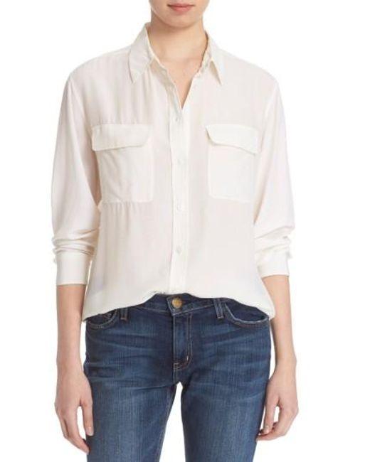 Equipment | White 'signature' Silk Shirt | Lyst