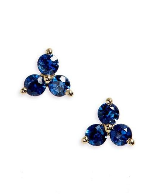 EF Collection | Blue Trio Precious Stone Stud Earrings | Lyst