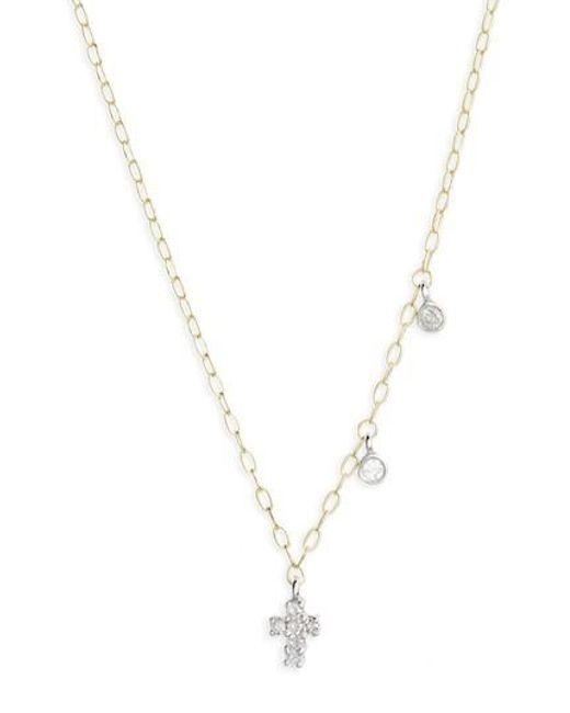 Meira T | Metallic Diamond Cross Pendant Necklace | Lyst