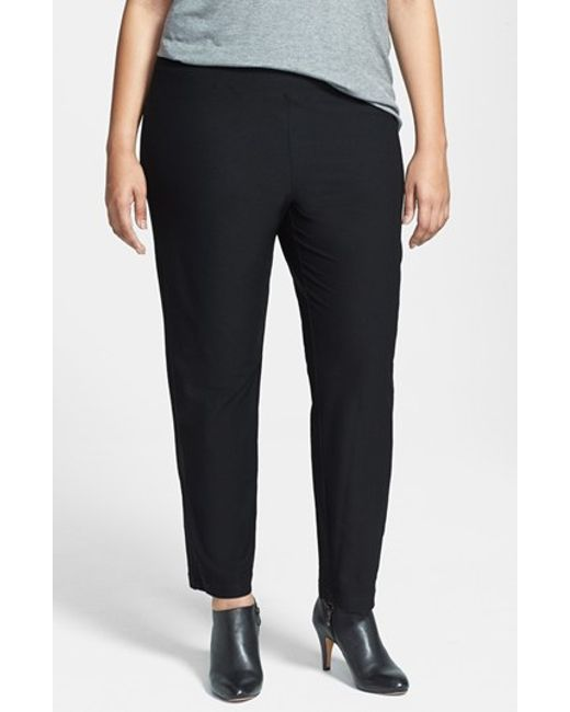 Eileen Fisher | Black Crepe Ankle Pants | Lyst