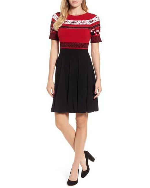 Draper james Floral Fair Isle Sweater Dress in Black | Lyst