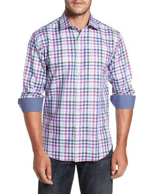 Bugatchi Shaped Fit Tartan Plaid Sport Shirt