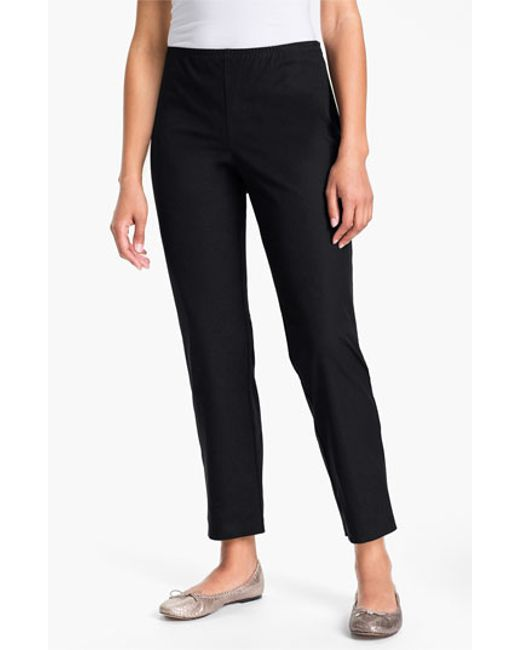 Eileen Fisher | White Organic Stretch Cotton Twill Ankle Pants | Lyst