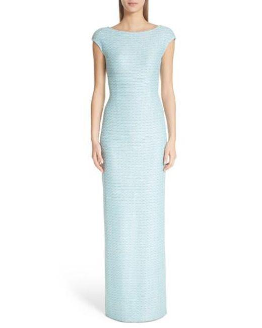 St. John - Blue Bateau Neck Glitter Gown - Lyst