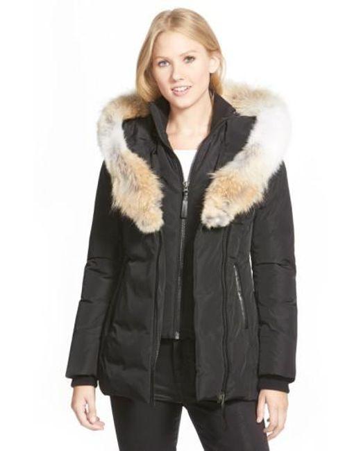 Mackage | Black Hooded Down Parka With Inset Bib & Genuine Coyote Fur Trim | Lyst