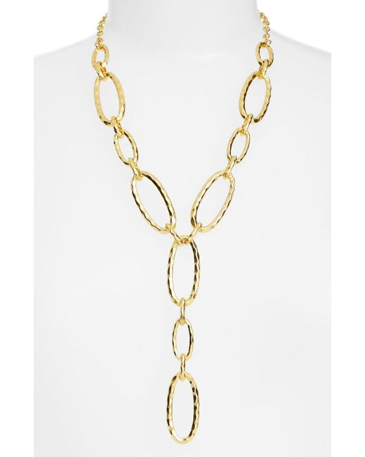 Karine Sultan - Metallic Link Y-necklace - Lyst
