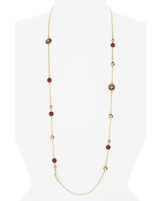 Tory Burch | Metallic Rosary Station Necklace | Lyst