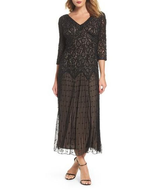 Pisarro Nights | Black Dropped-Waist Beaded Mesh Dress | Lyst