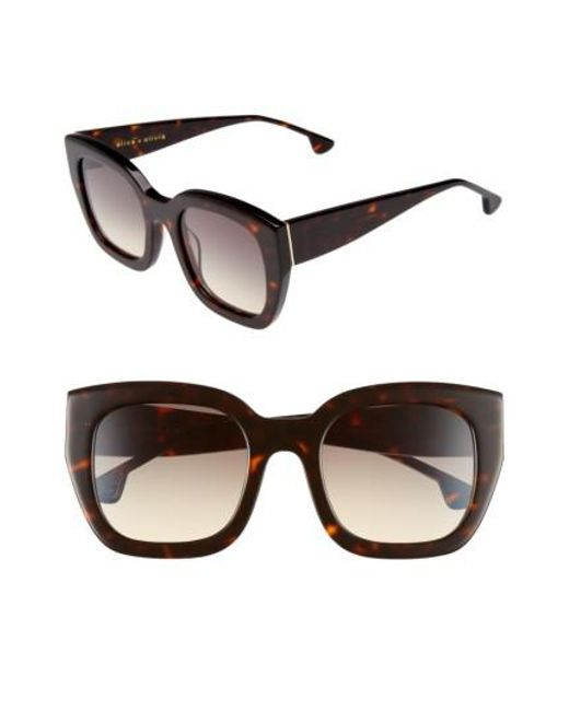 Alice + Olivia | Red Aberdeen 50mm Square Sunglasses - Blush Fade | Lyst