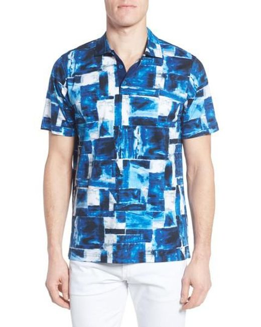 Bugatchi   Blue Print Jersey Polo for Men   Lyst