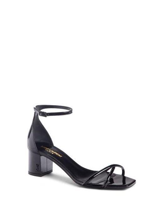 Saint Laurent - Black Loulou Ankle Strap Sandal - Lyst