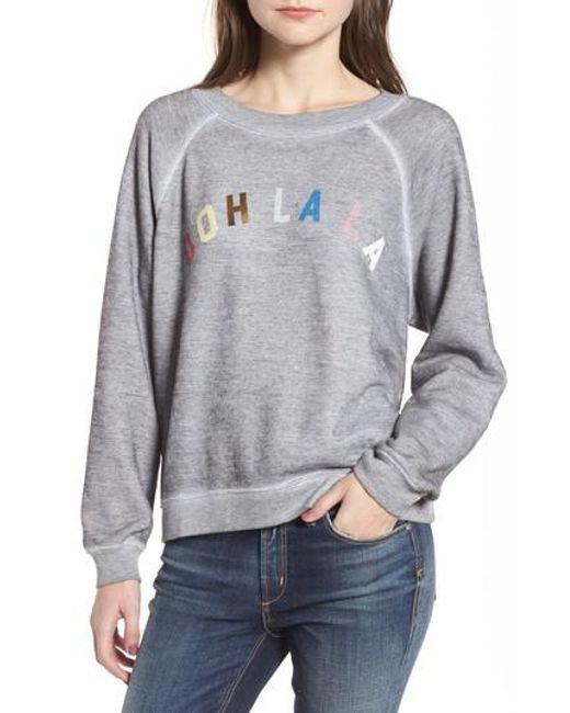 Lyst wildfox ooh la la sweatshirt in gray wildfox gray ooh la la sweatshirt lyst publicscrutiny Image collections