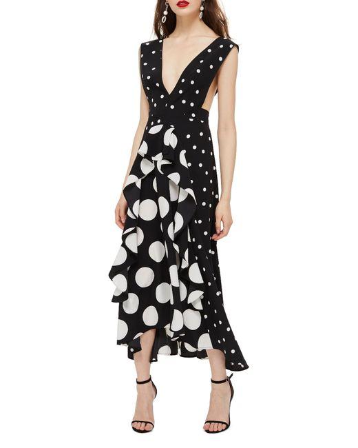 TOPSHOP - Black Spot Plunge Neck Midi Dress - Lyst