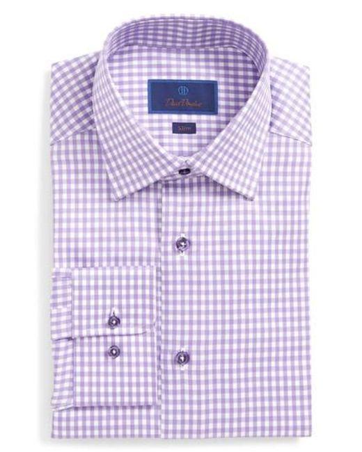David Donahue | Purple Slim Fit Check Dress Shirt for Men | Lyst