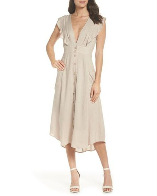 Adelyn Rae - Natural Kelsey Button Front Dress - Lyst