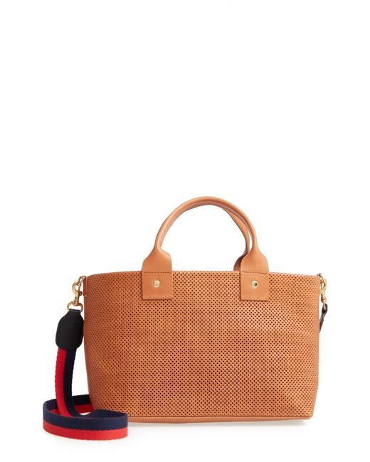 Clare V. - Brown Perforated Bruno Leather Crossbody Bag - - Lyst