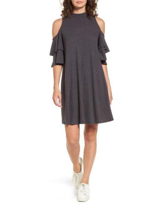 Soprano   Gray Ruffle Cold Shoulder Shift Dress   Lyst