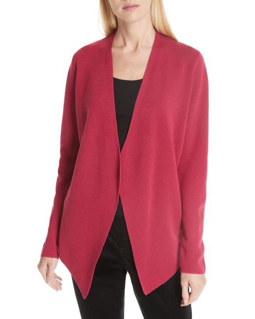 Eileen Fisher - Red Angled Lyocell & Silk Cardigan - Lyst