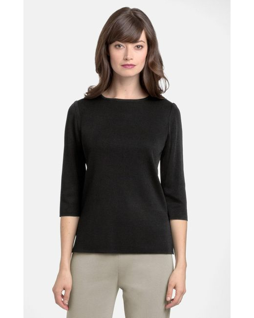 Ming Wang - Black Three Quarter Sleeve Crewneck Knit Shell - Lyst