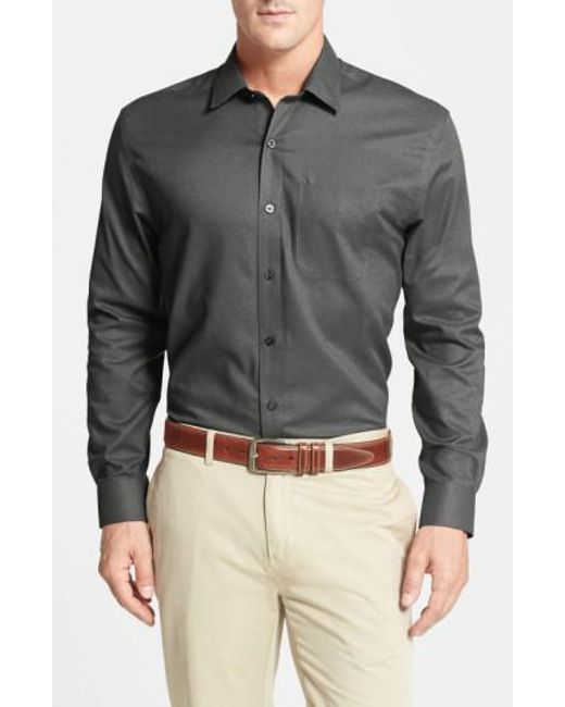 Cutter & Buck - Black 'epic Easy Care' Classic Fit Wrinkle Free Sport Shirt for Men - Lyst
