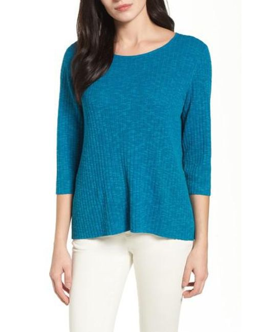 Eileen Fisher | Blue Ribbed Organic Linen & Cotton Sweater | Lyst