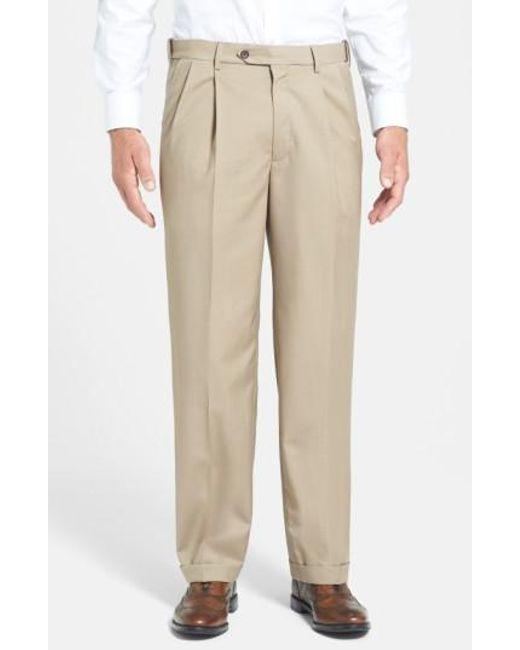 Berle - Brown Self Sizer Waist Pleated Wool Gabardine Trousers for Men - Lyst