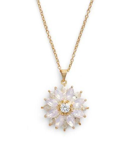 Nina - Metallic Layer Floral Pendant Necklace - Lyst