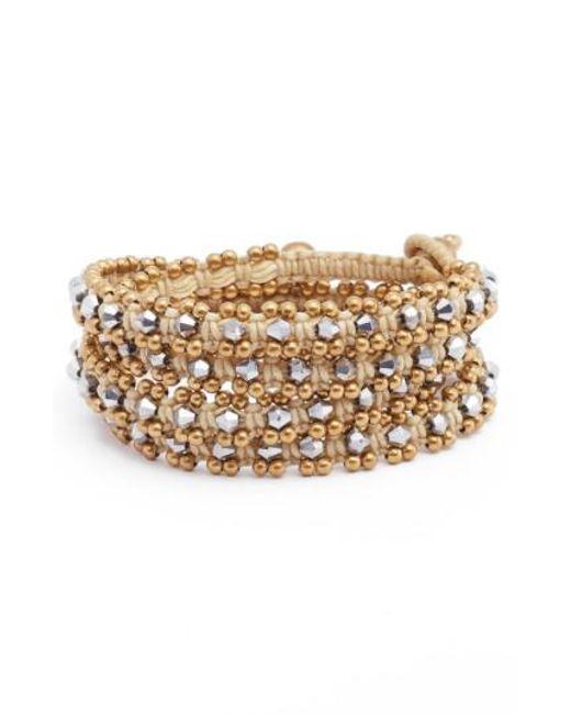 Serefina | Metallic Crystal Wrap Bracelet | Lyst