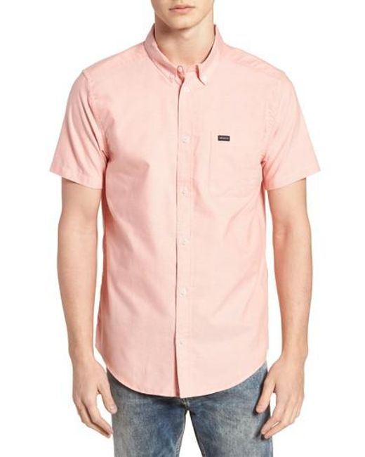 RVCA - White 'that'll Do' Slim Fit Short Sleeve Oxford Shirt for Men - Lyst